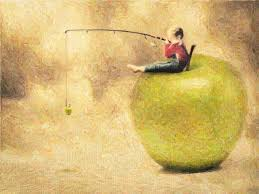 I dreamed I sat on an apple and fished.